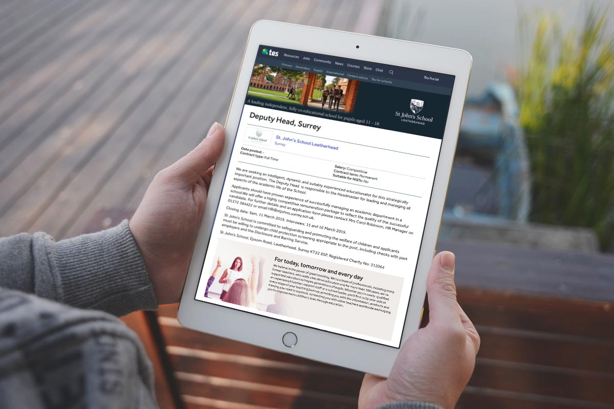 St John's School marketing website on tablet