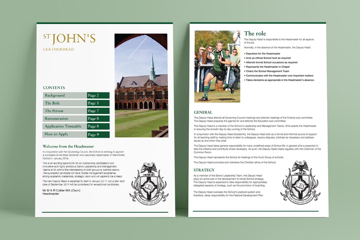 St John's School information pack inner pages